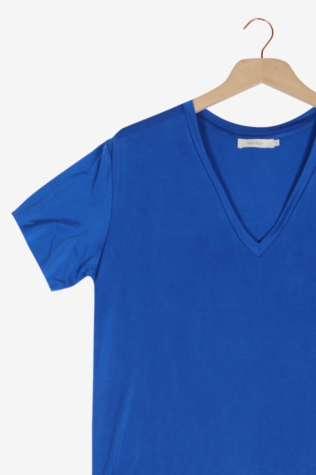 Kobalt blauw T-shirt met V-hals - Dames | Sissy-Boy