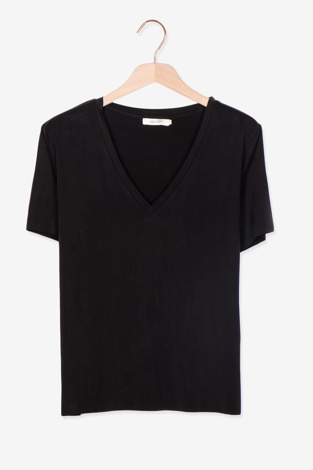 Zwart cupro t-shirt met V-hals