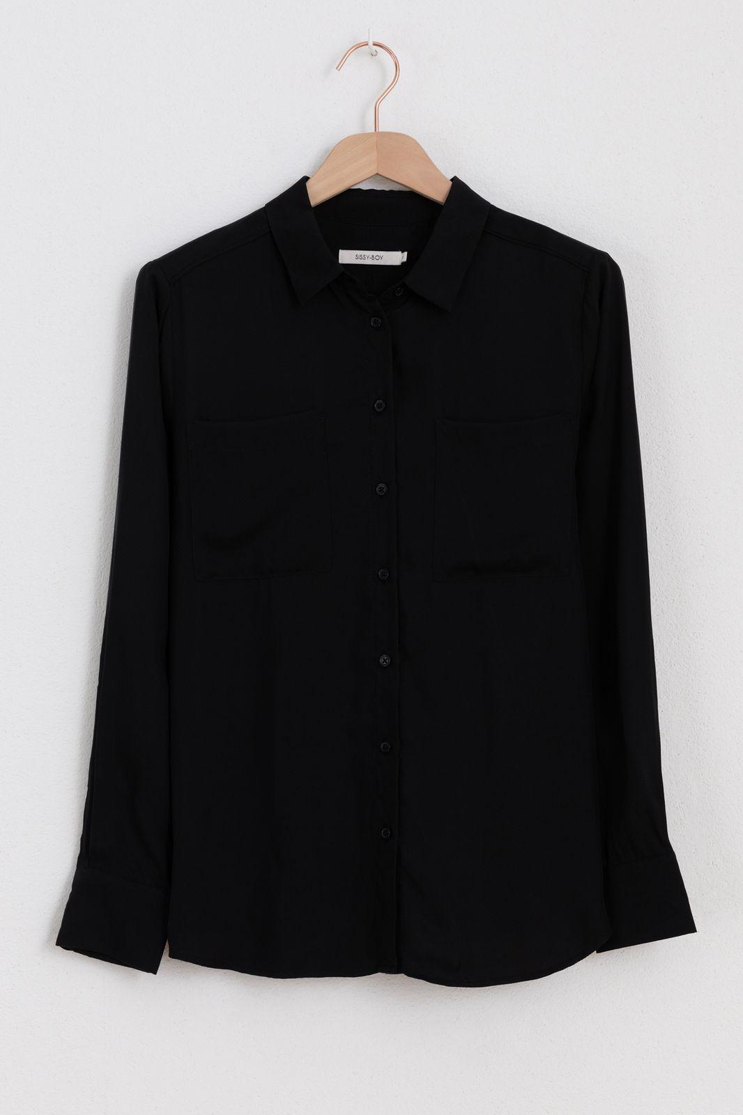 Zwarte essential blouse met borstzakken