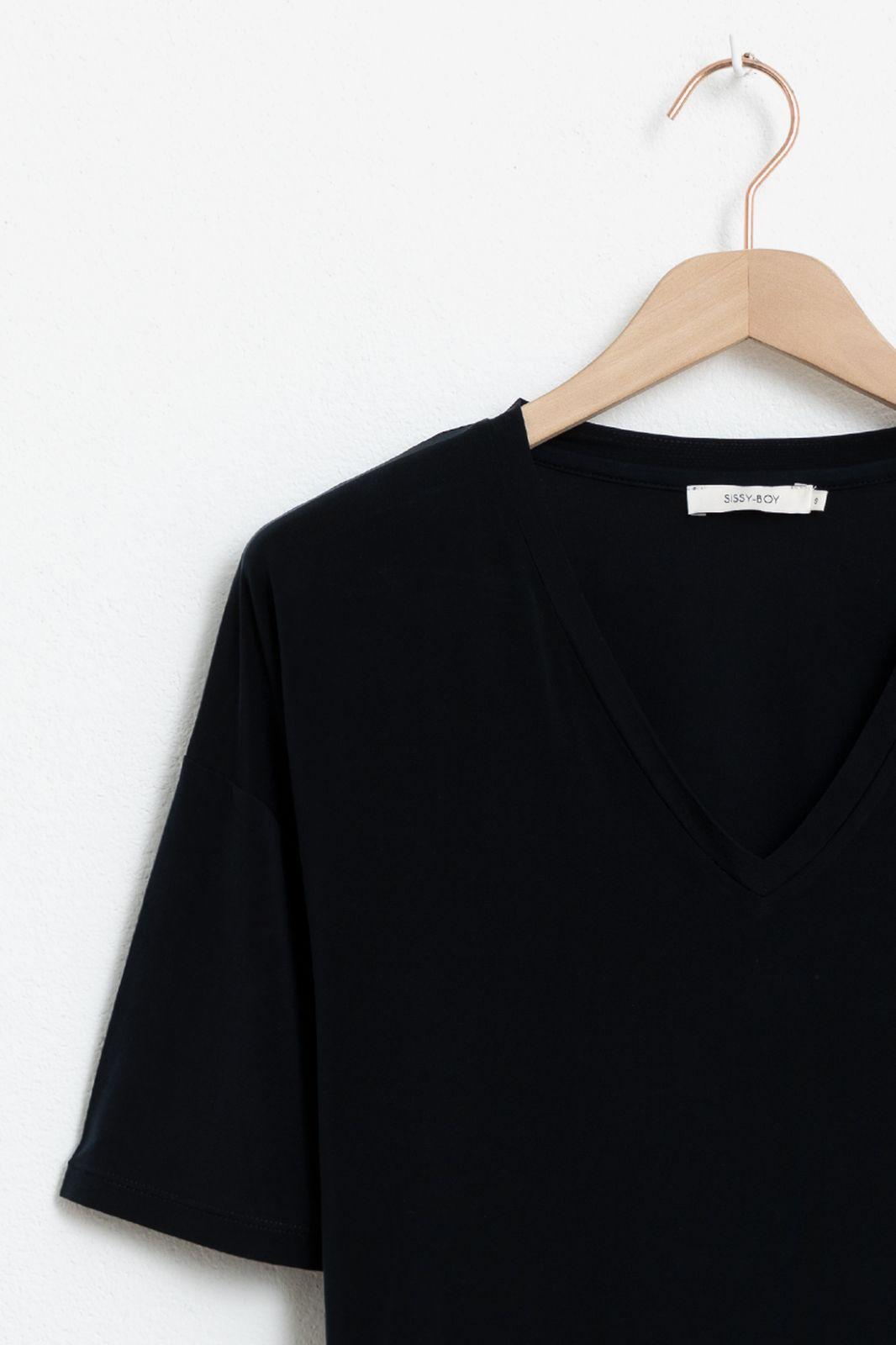 Zwart cupro T-shirt - Dames | Sissy-Boy
