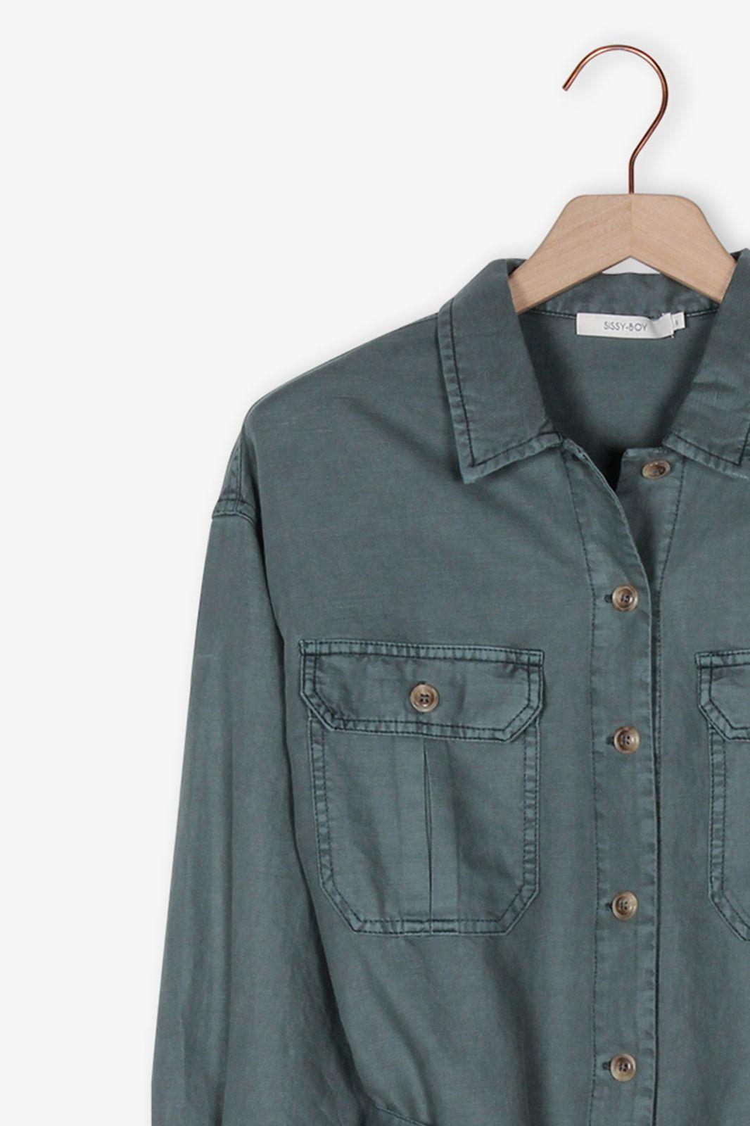 Donkergroen oversized blouse jasje - Dames   Sissy-Boy