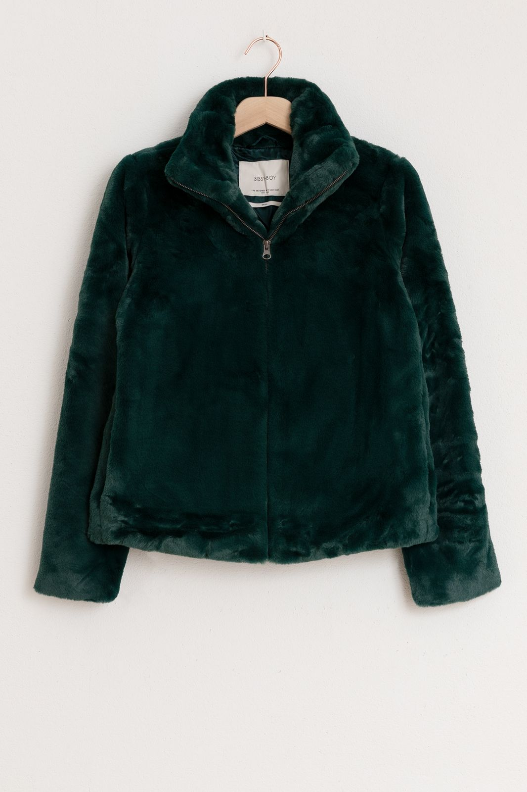 Donkergroene faux fur jas - Dames | Sissy-Boy