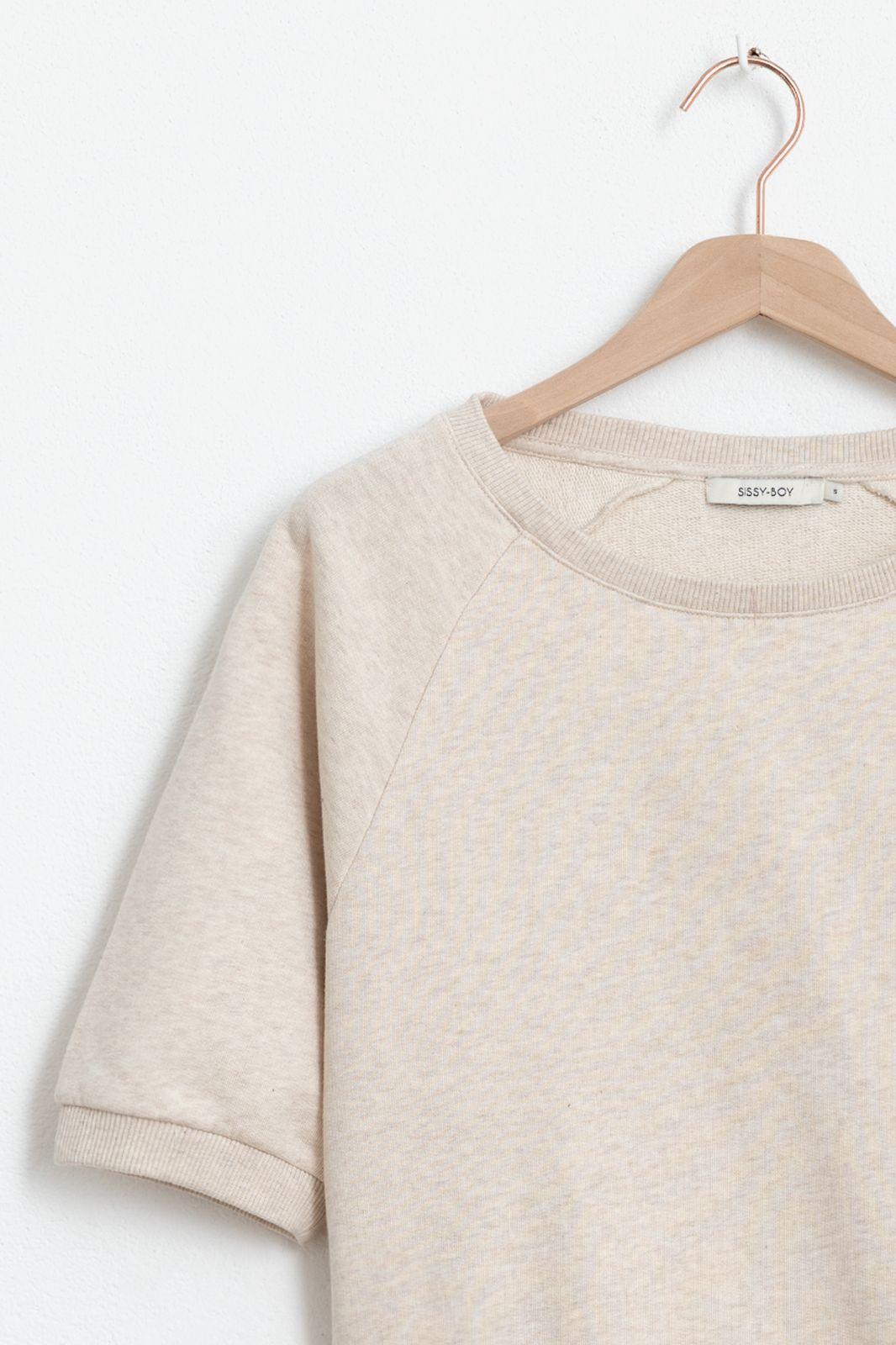 Beige basic sweater met driekwart mouwen - Dames | Sissy-Boy