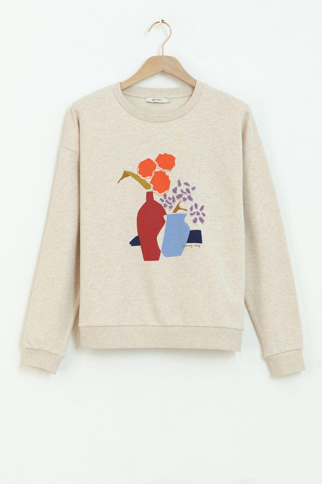 Beige sweater met artwork
