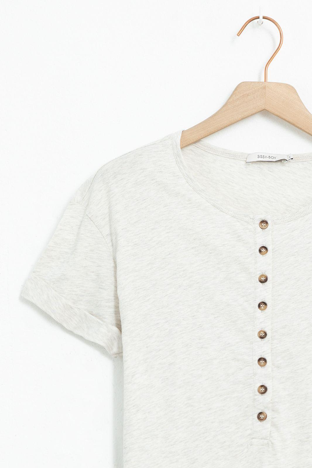 Beige T-shirt met knopen - Dames | Sissy-Boy