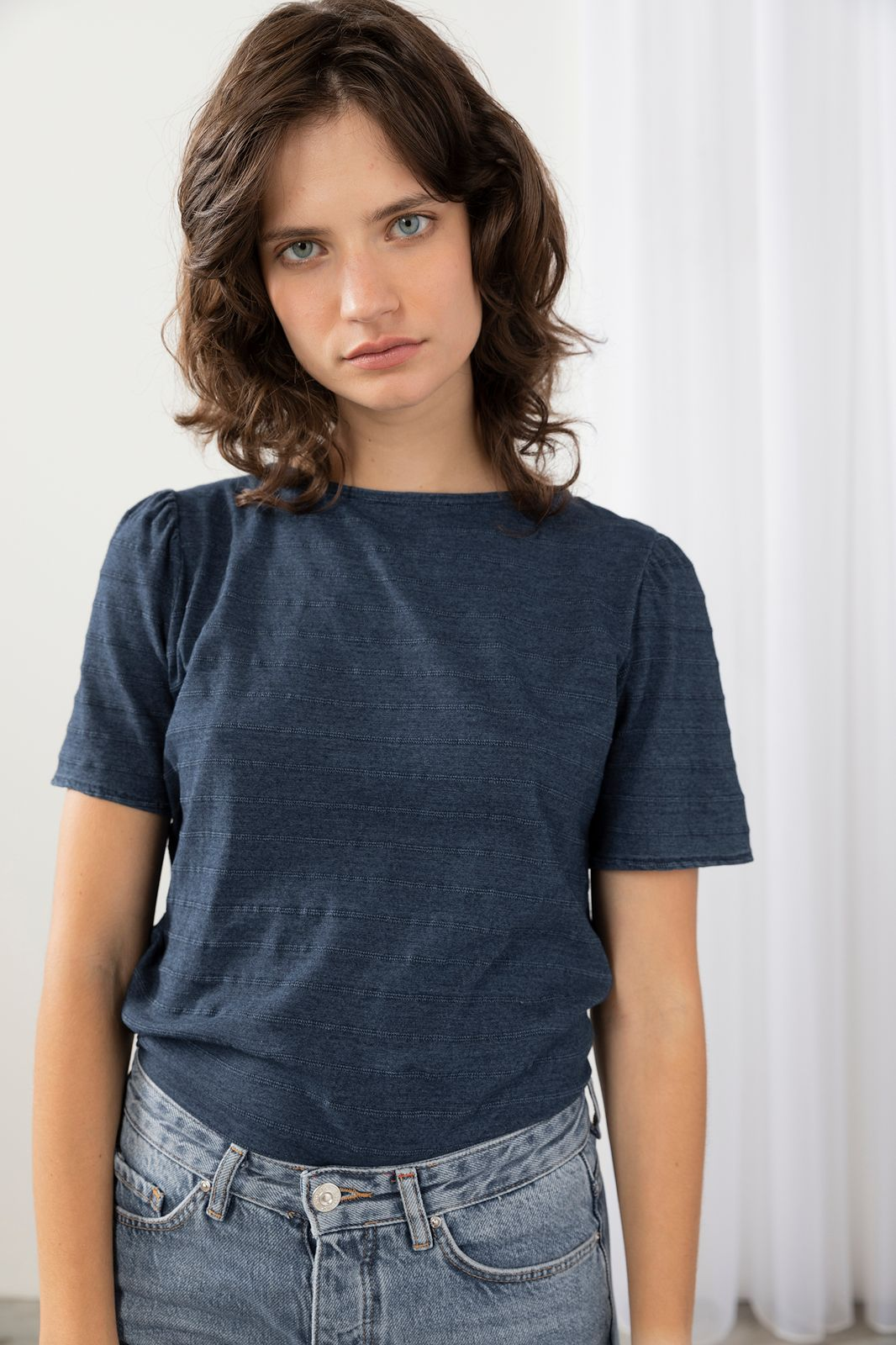 Blauw t-shirt met streepjesstructuur - Dames | Sissy-Boy