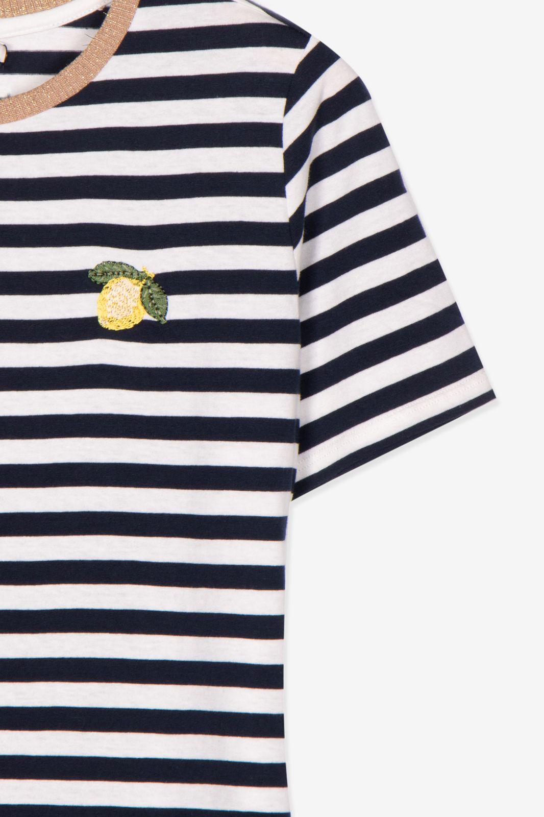 Gestreept t-shirt met citroen borduursel