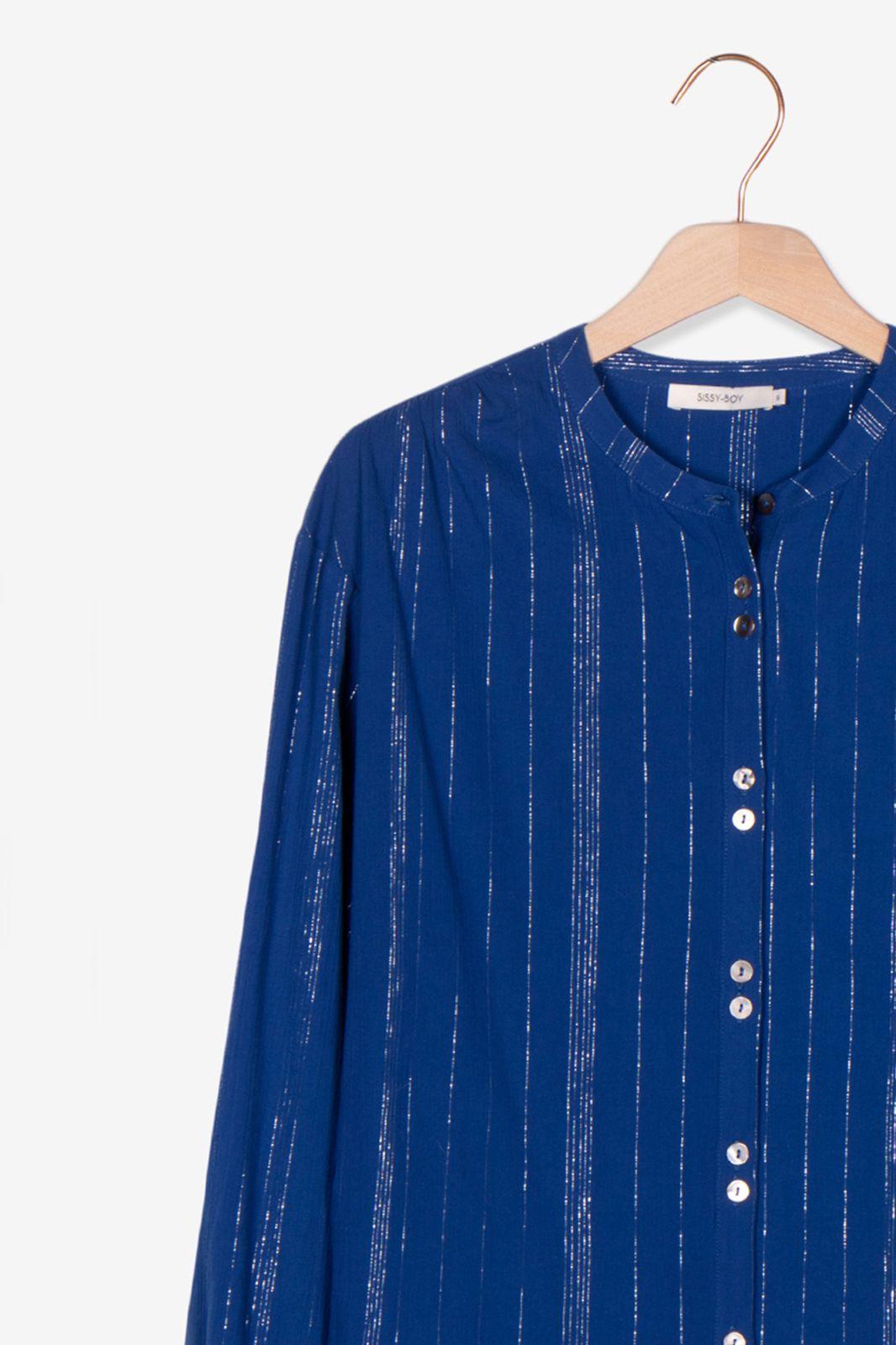 Donkerblauwe blouse met zilveren details