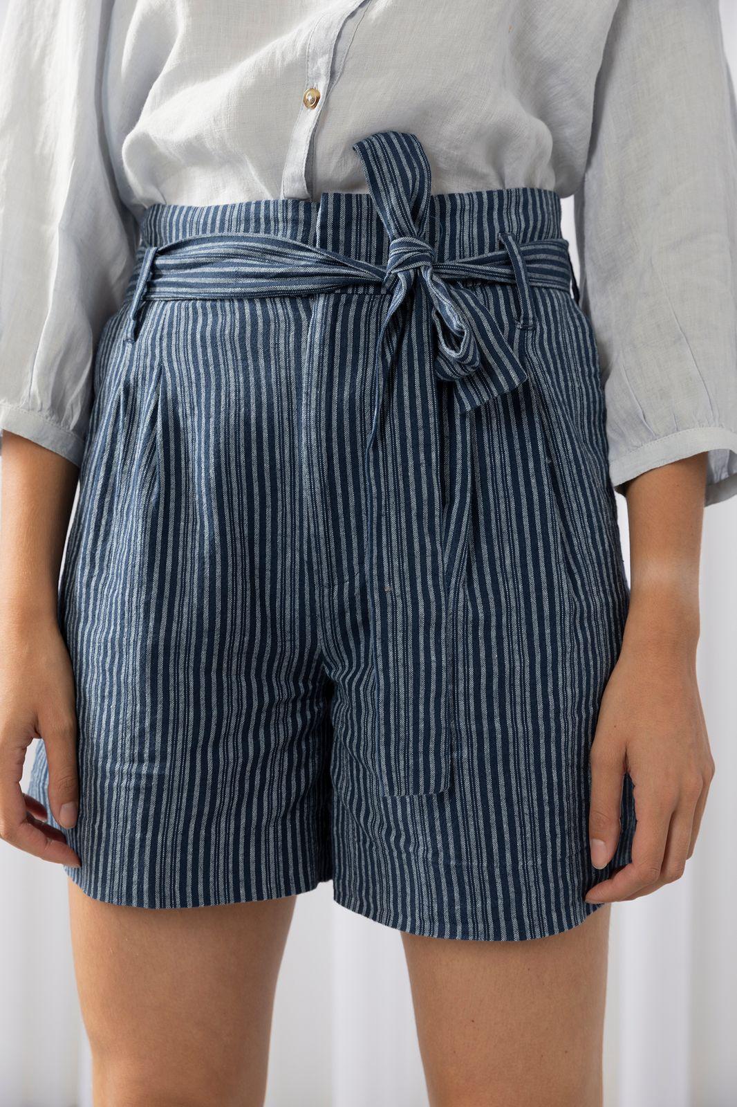 Blauw paperbag short