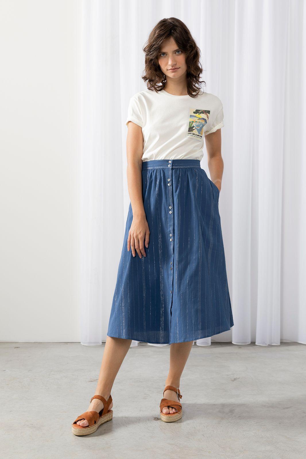 Blauwe rok met zilveren stiksels - Dames | Sissy-Boy