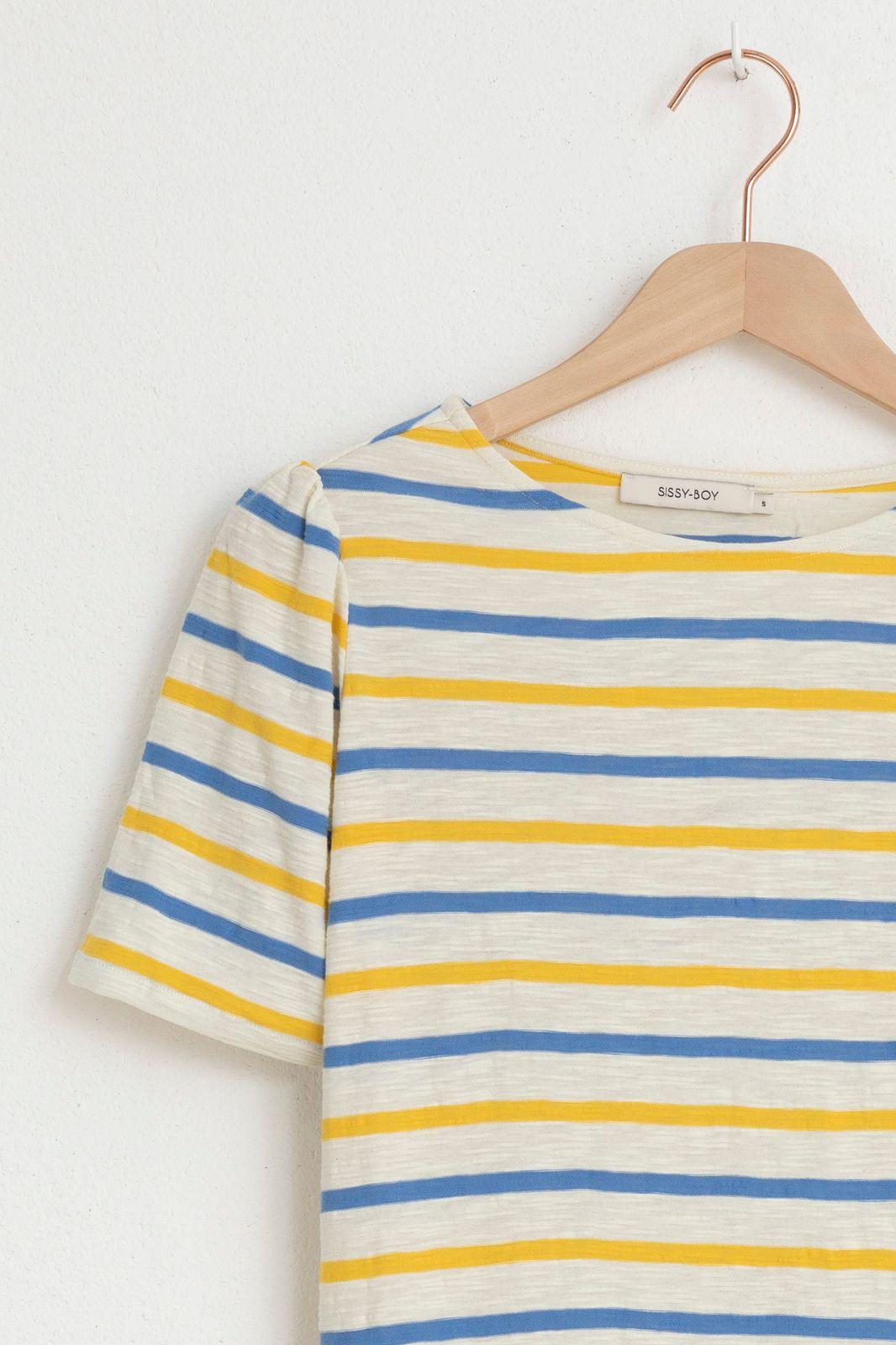 Blauw/geel gestreept t-shirt - Dames   Sissy-Boy