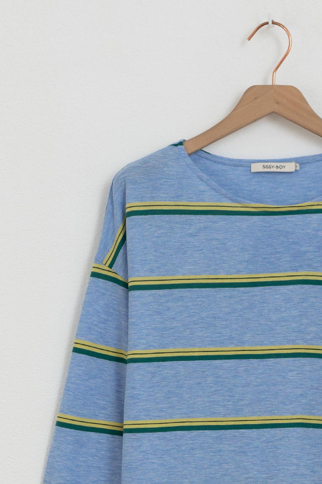 Lichtblauw T-shirt met strepen - Dames | Sissy-Boy
