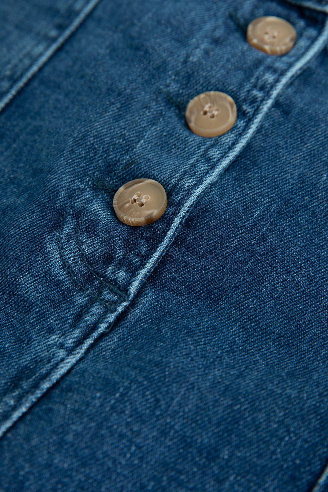 Denim mini skirt met knopen