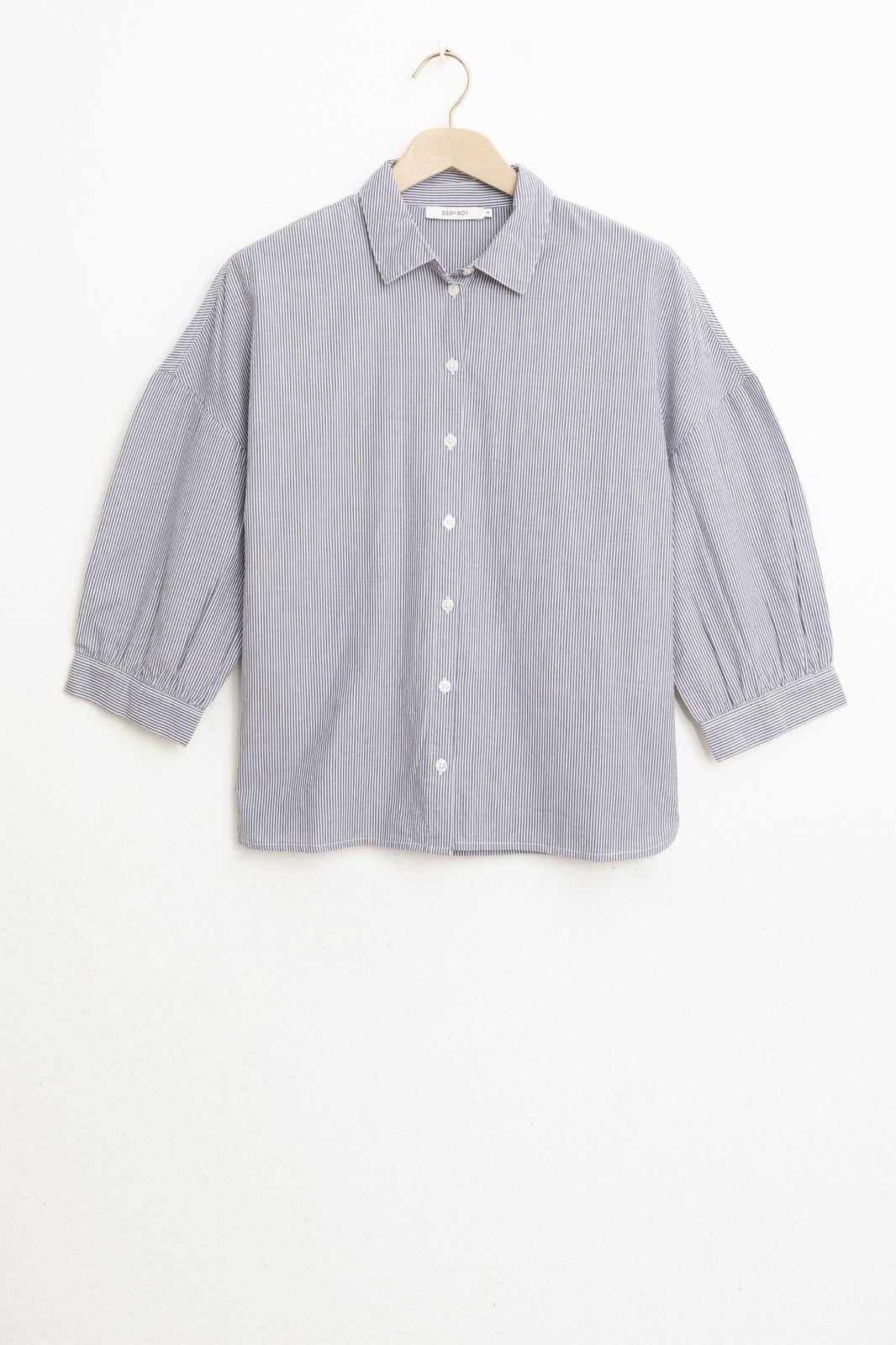 Blauw gestreepte blouse met ballonmouwen