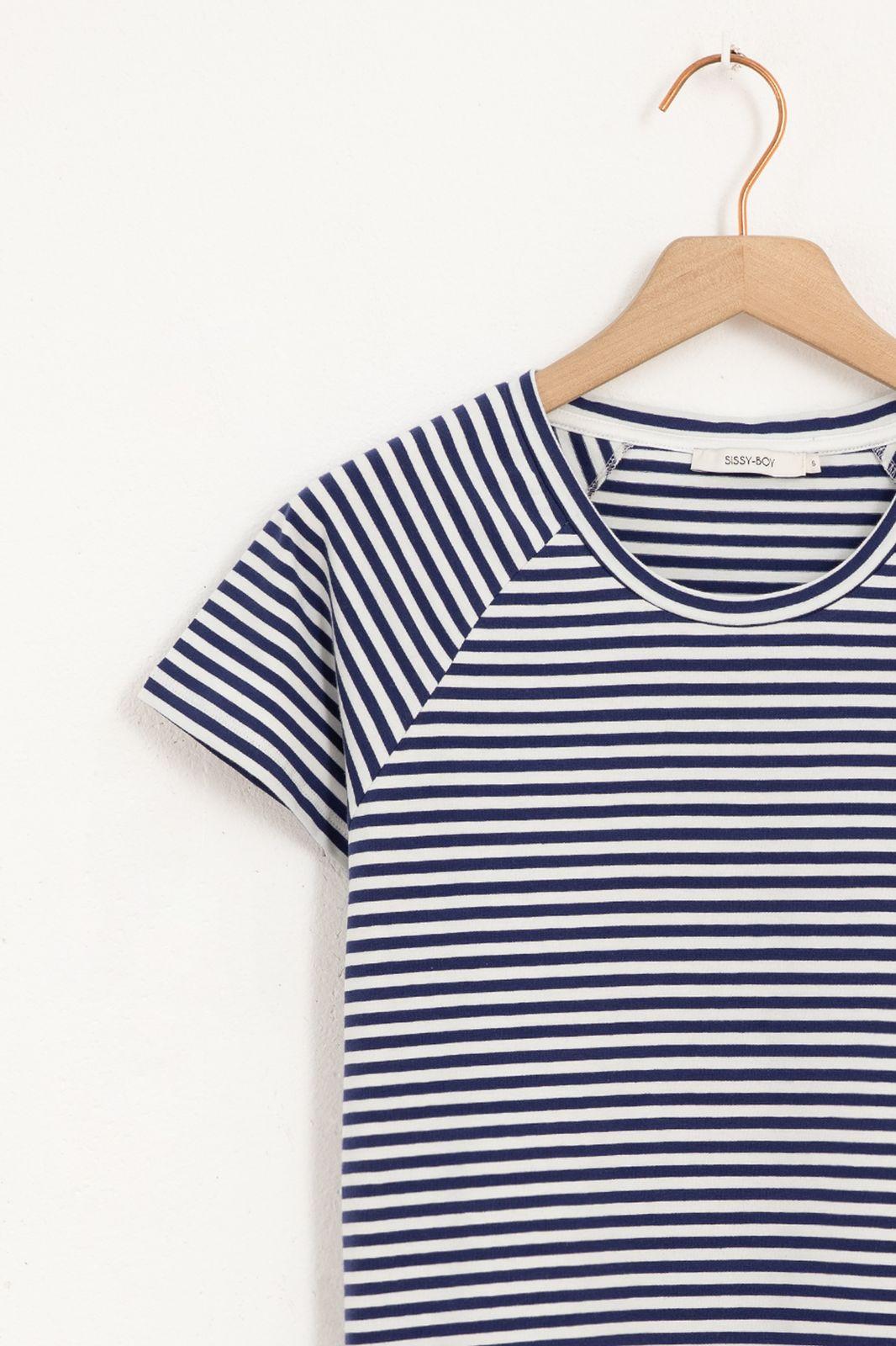 Wit met blauw gestreept T-shirt