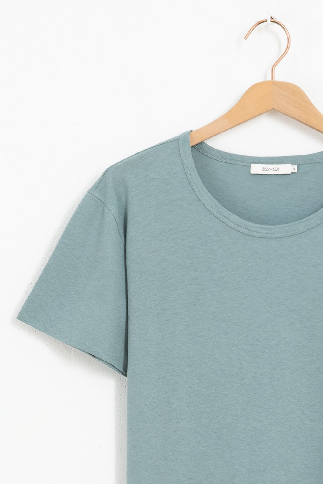 Blauw basic t-shirt met dubbele mouw