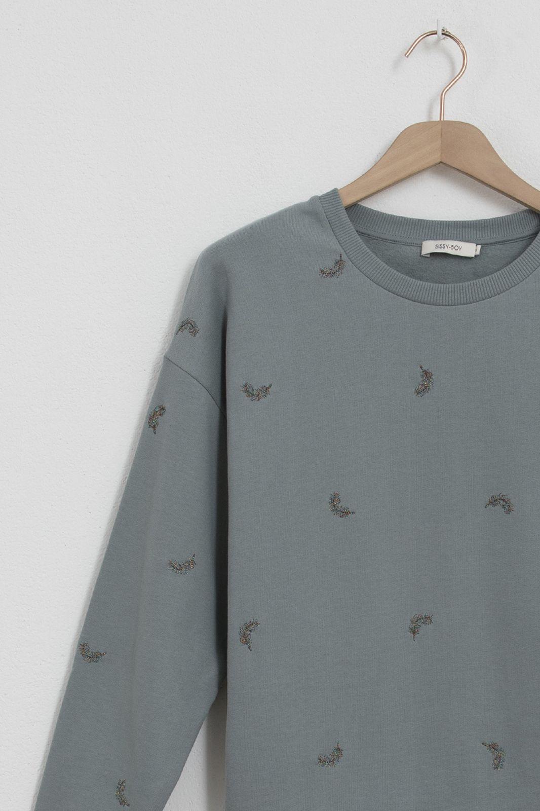 Blauwe sweater met all over veren embroidery en lurex - Dames | Sissy-Boy