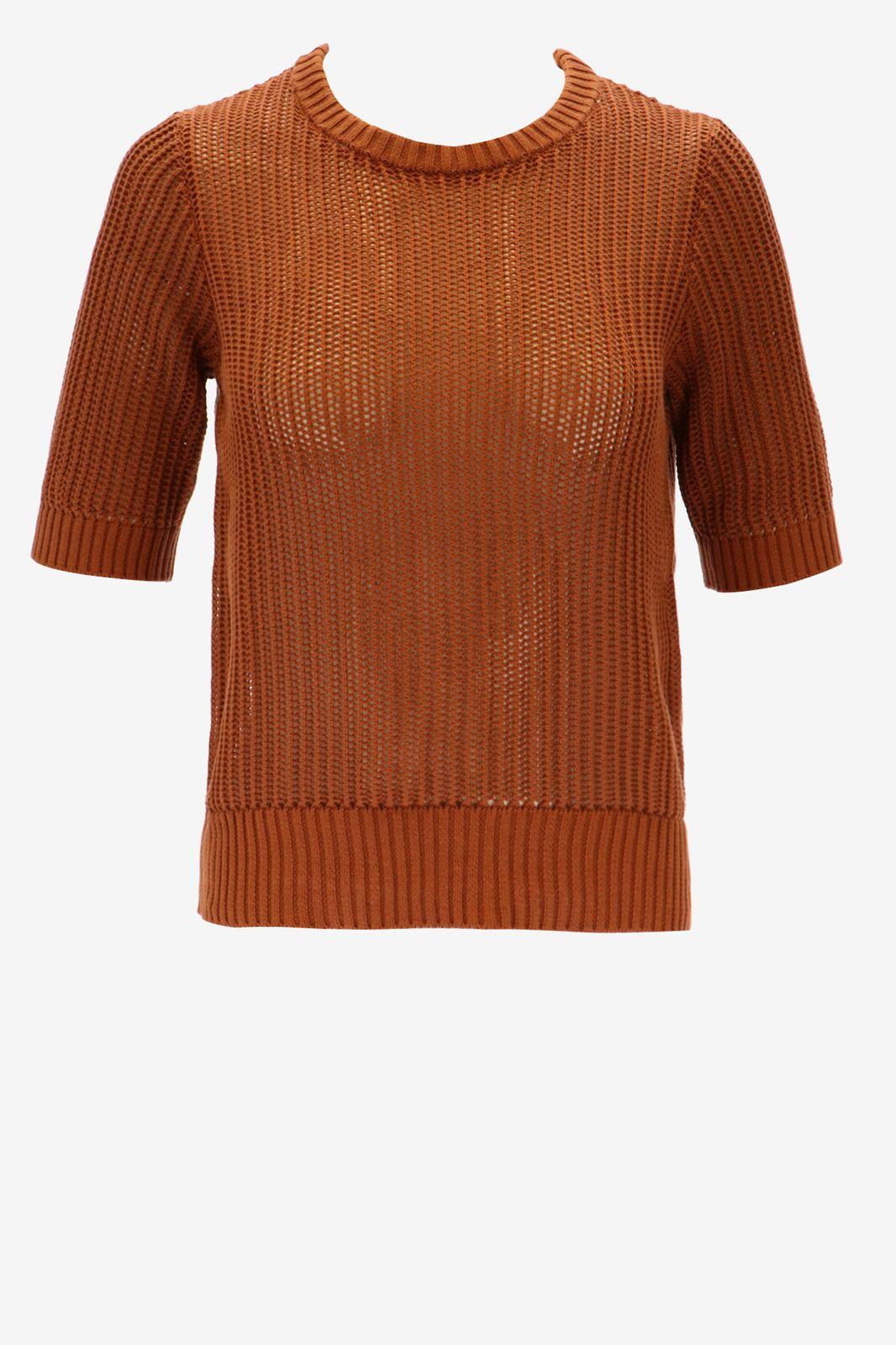 Bruine gebreide trui korte mouw - Dames | Sissy-Boy