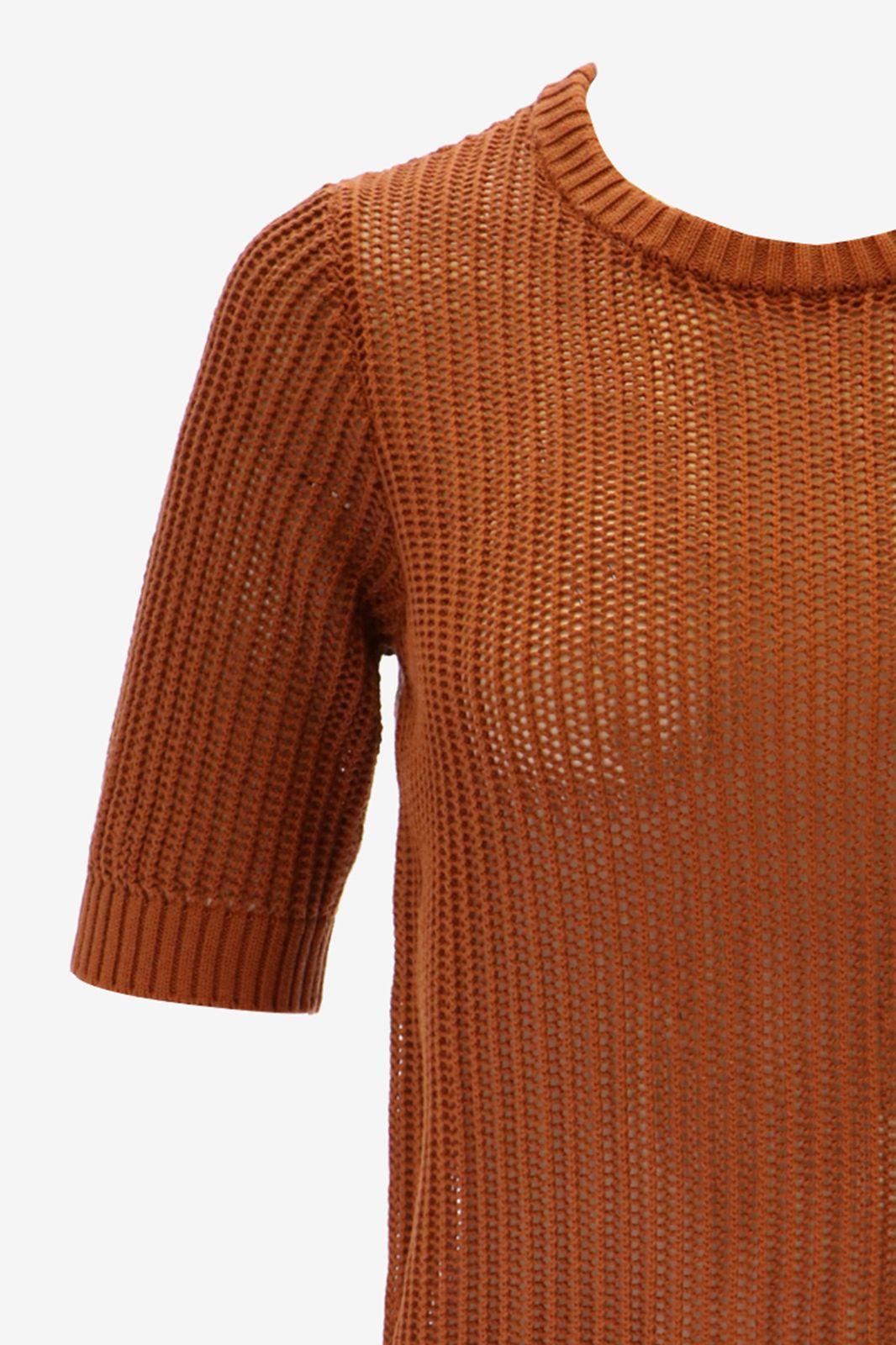 Bruine gebreide trui korte mouw
