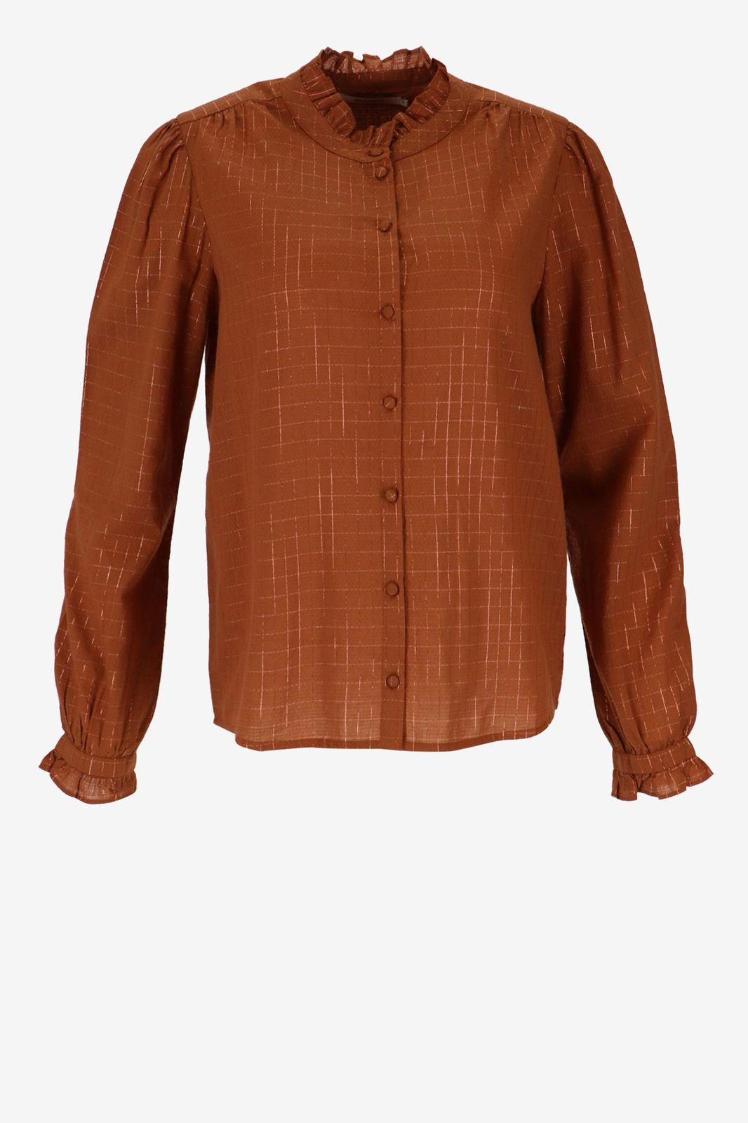 Bruine blouse met vakjes