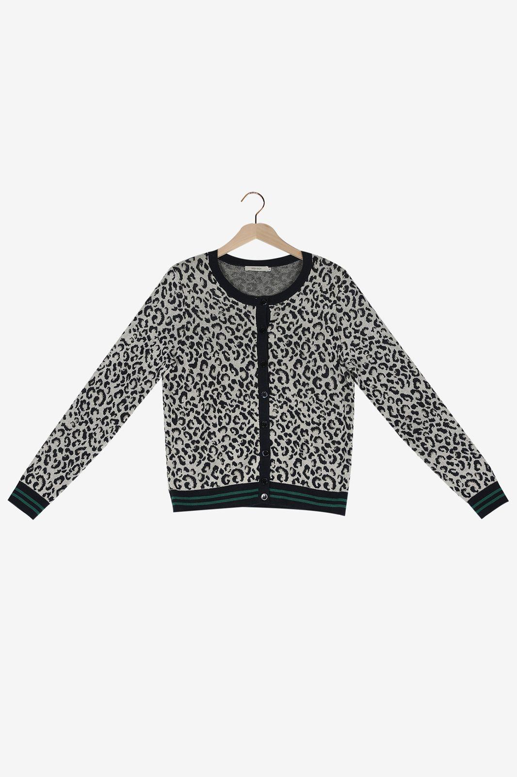 Bruin met donkerblauw leopard vest - Dames | Sissy-Boy