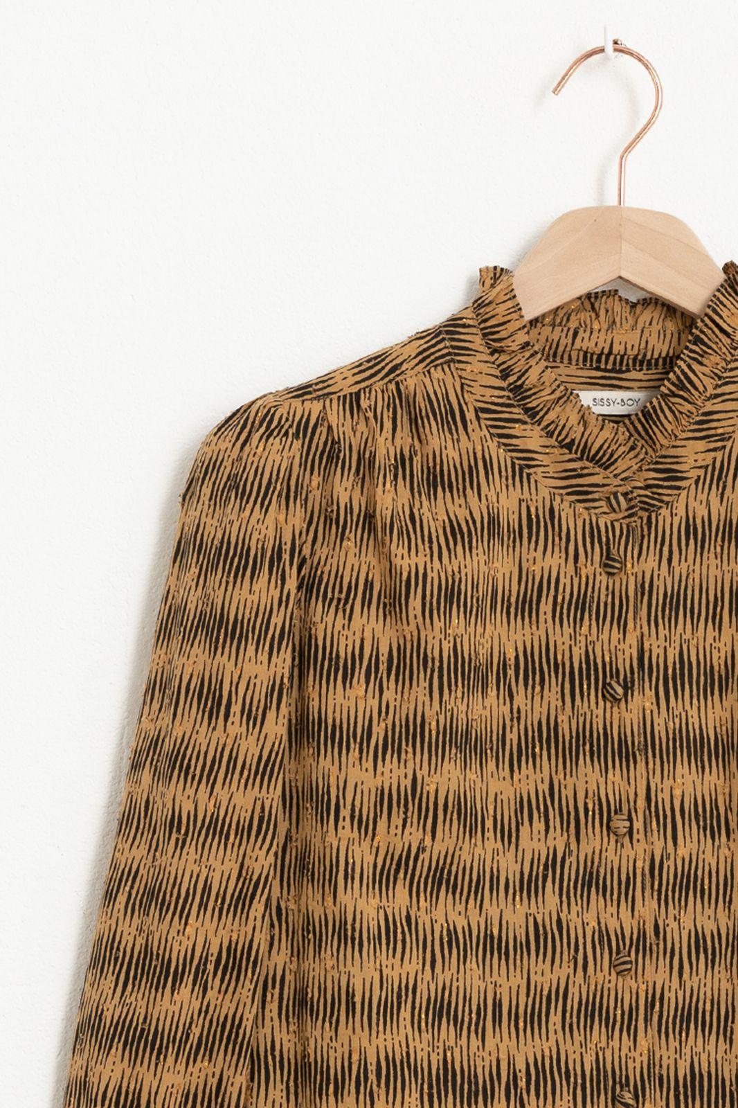 Bruine blouse met all over print en lurex dots - Dames | Sissy-Boy