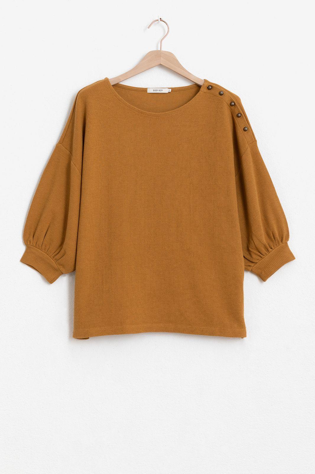 Bruin T-shirt met knopen - Dames | Sissy-Boy