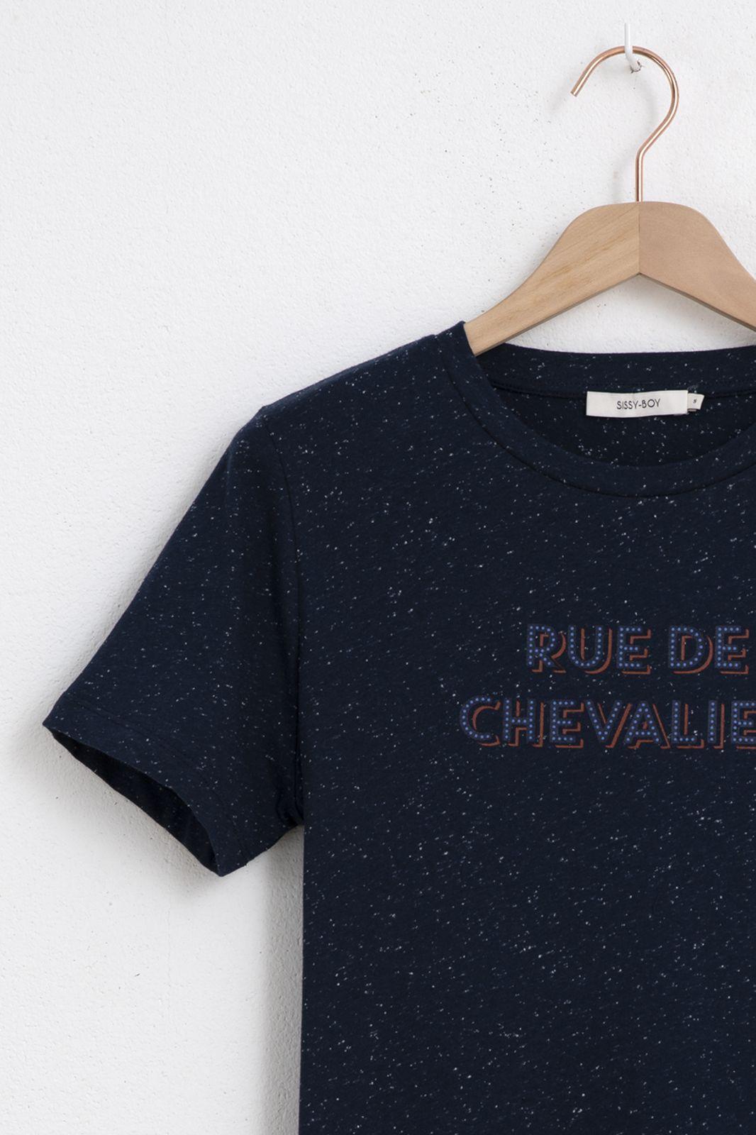Donkerblauw t-shirt met tekst