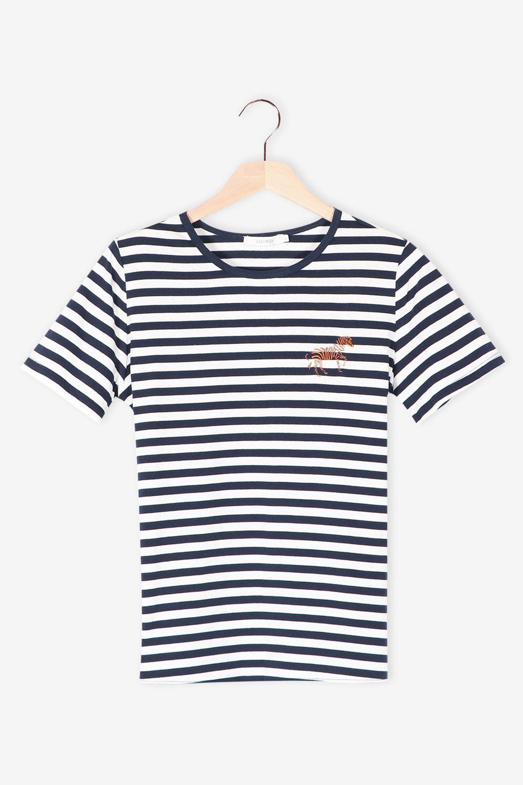 T-shirt gestreept blauw - Dames | Sissy-Boy