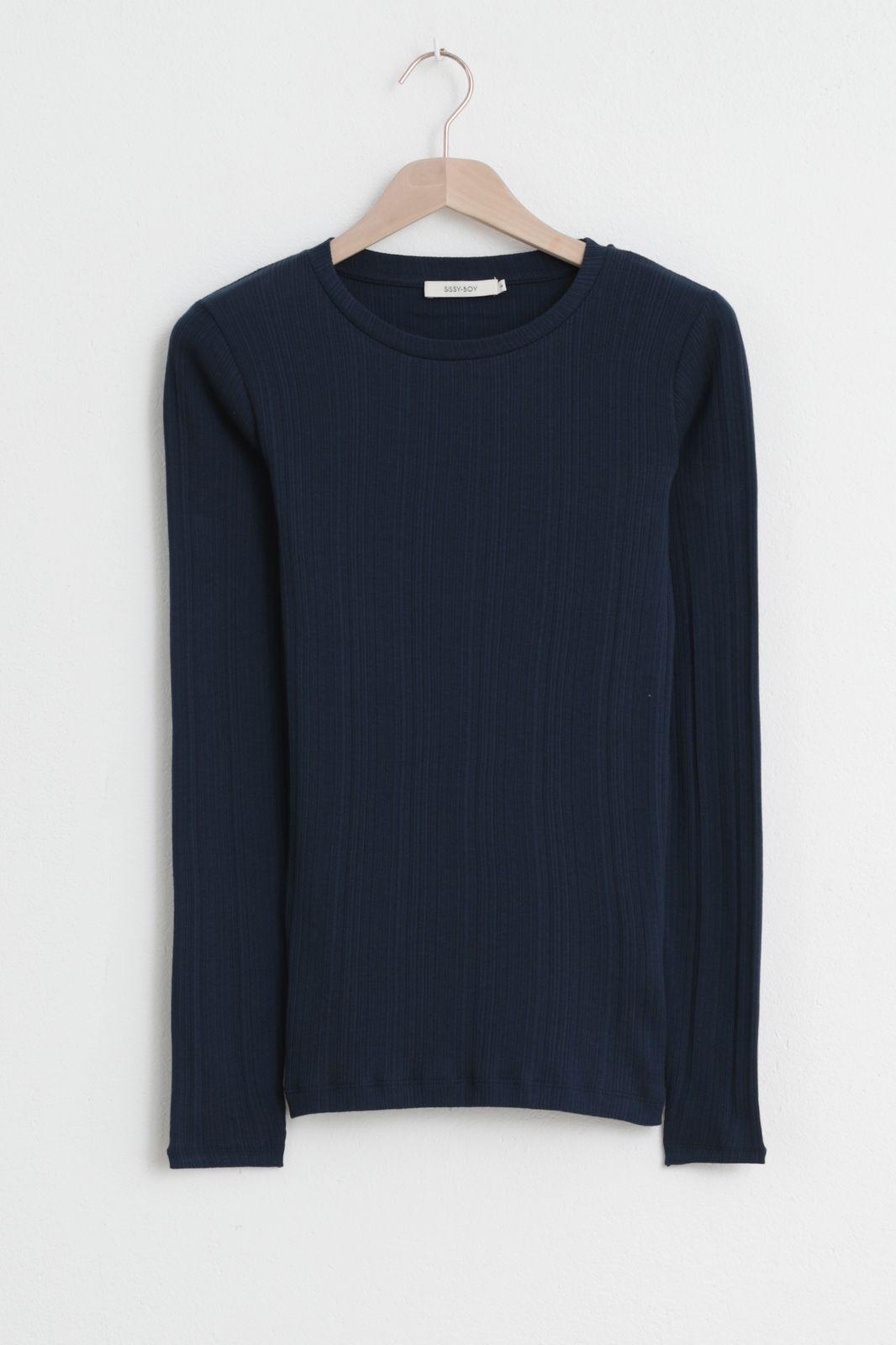 Donkerblauw rib T-shirt - Dames | Sissy-Boy
