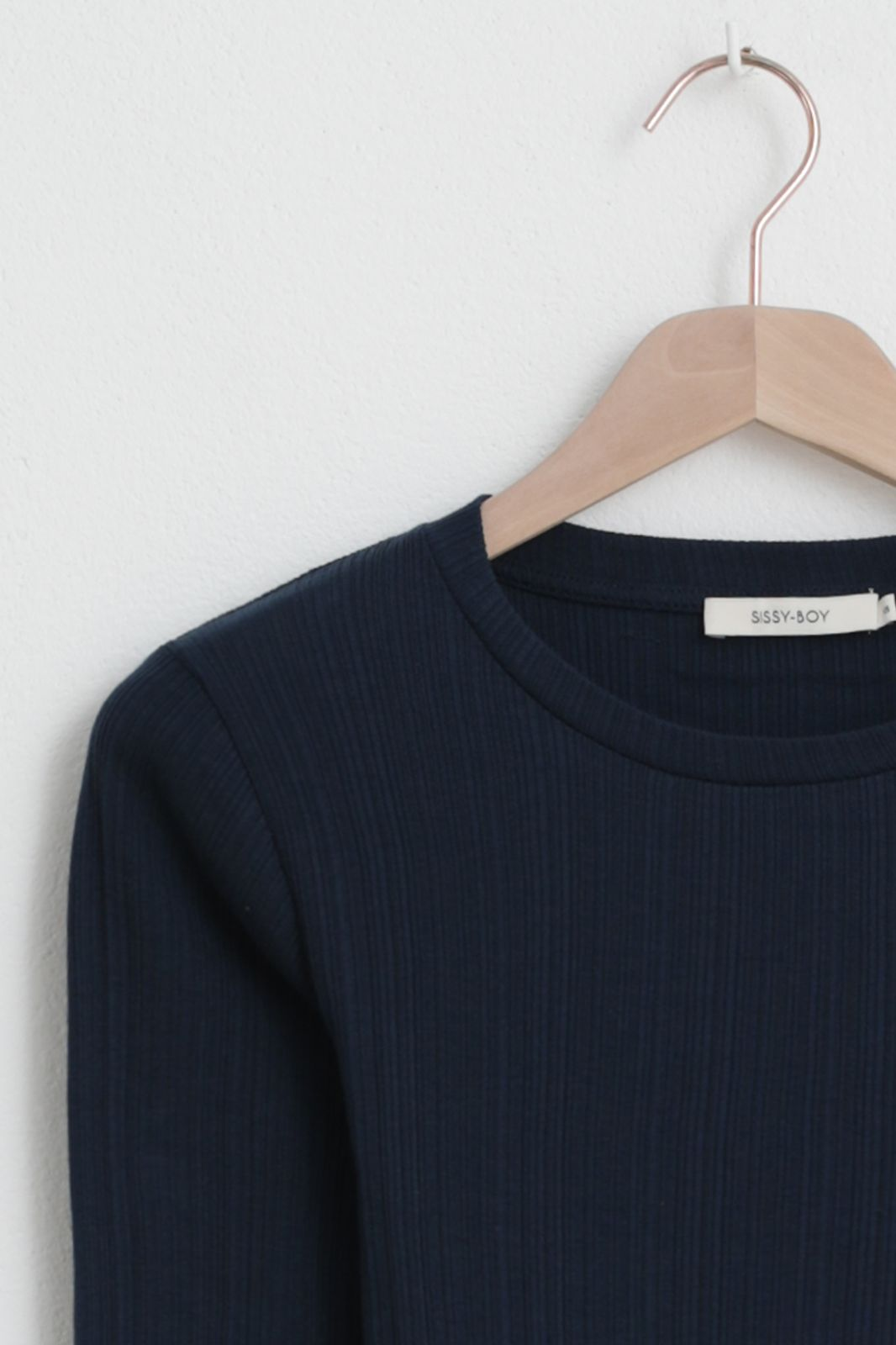 Donkerblauw rib T-shirt