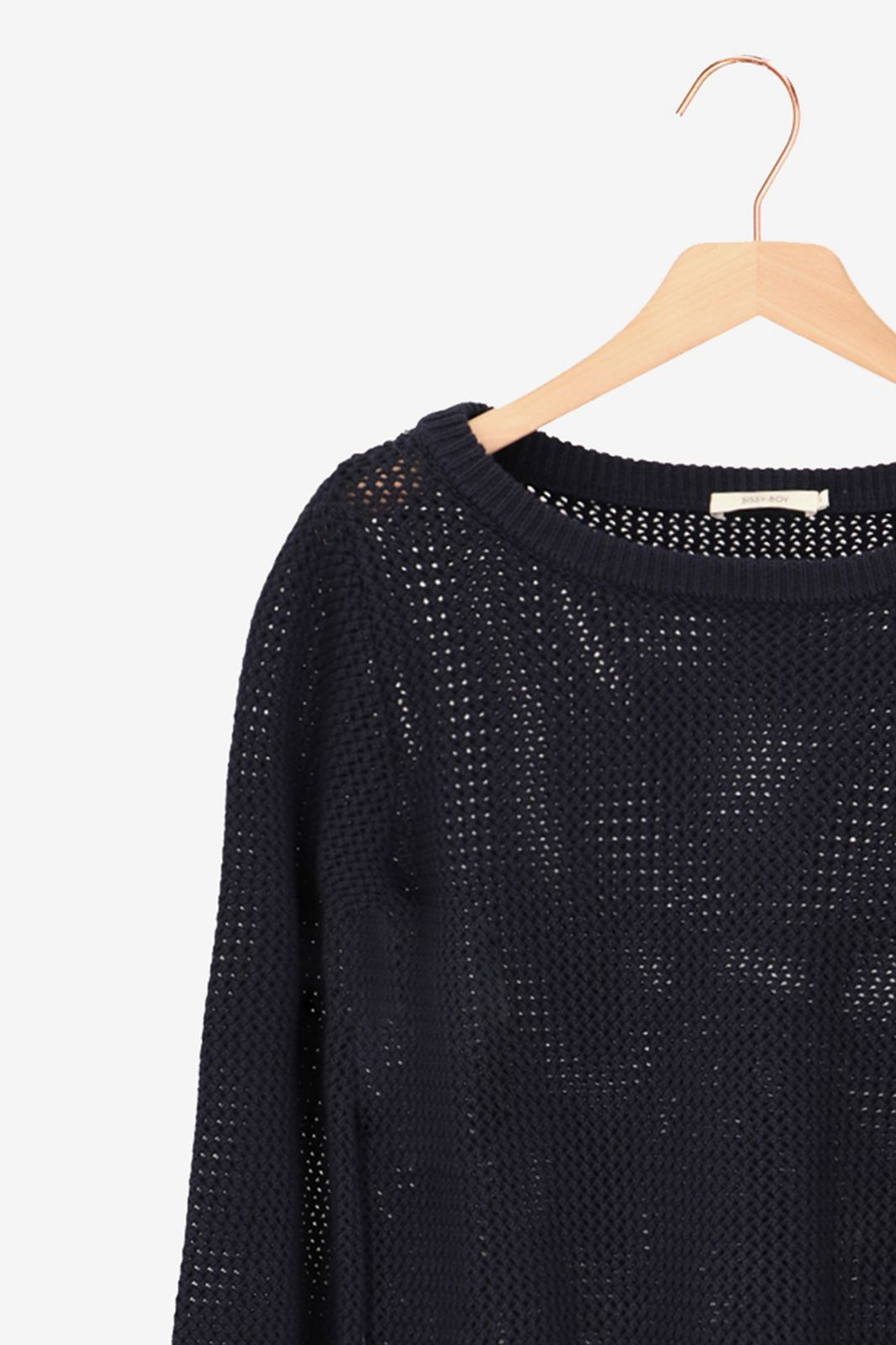 Donkerblauwe gebreide trui