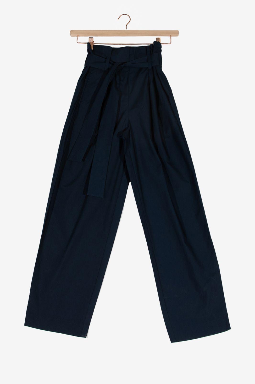 Donkerblauwe paperbag pantalon