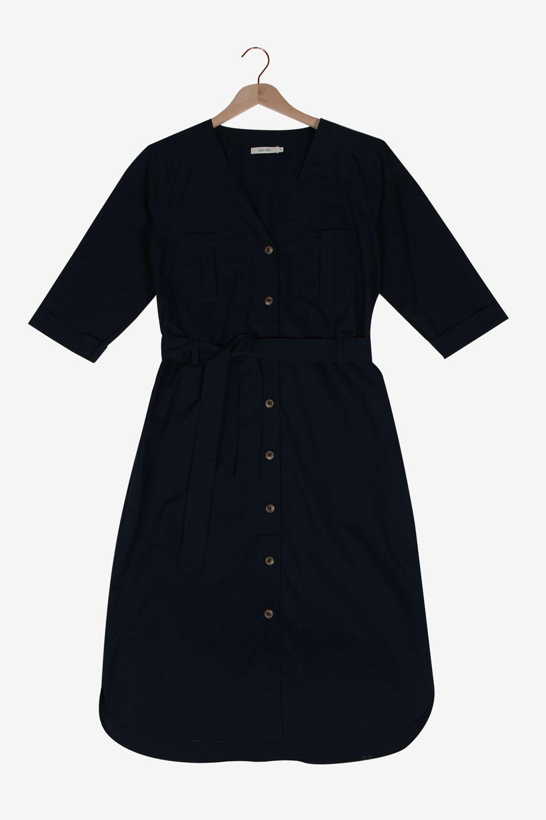 Donkerblauwe jurk met knopen - Dames | Sissy-Boy