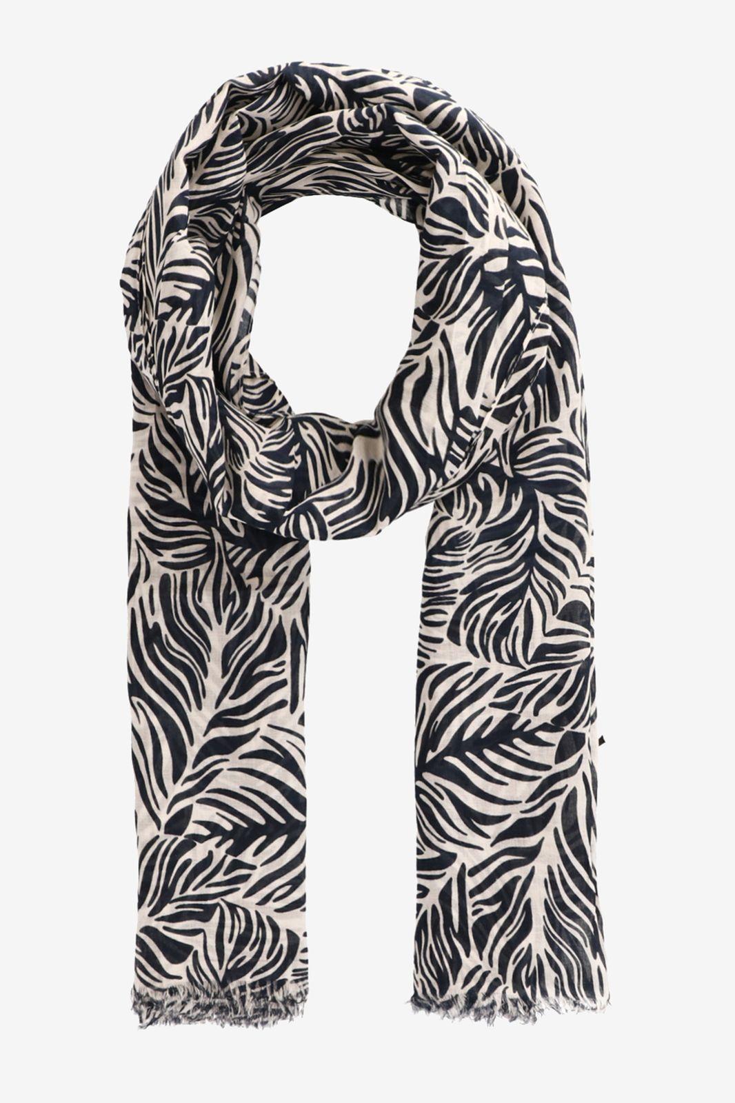 Donkerblauwe sjaal zebra flower print