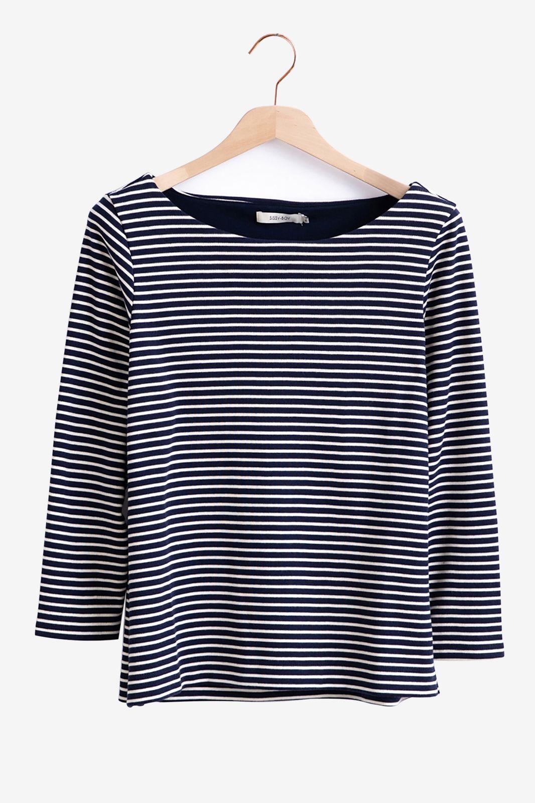 Donkerblauw gestreept t-shirt