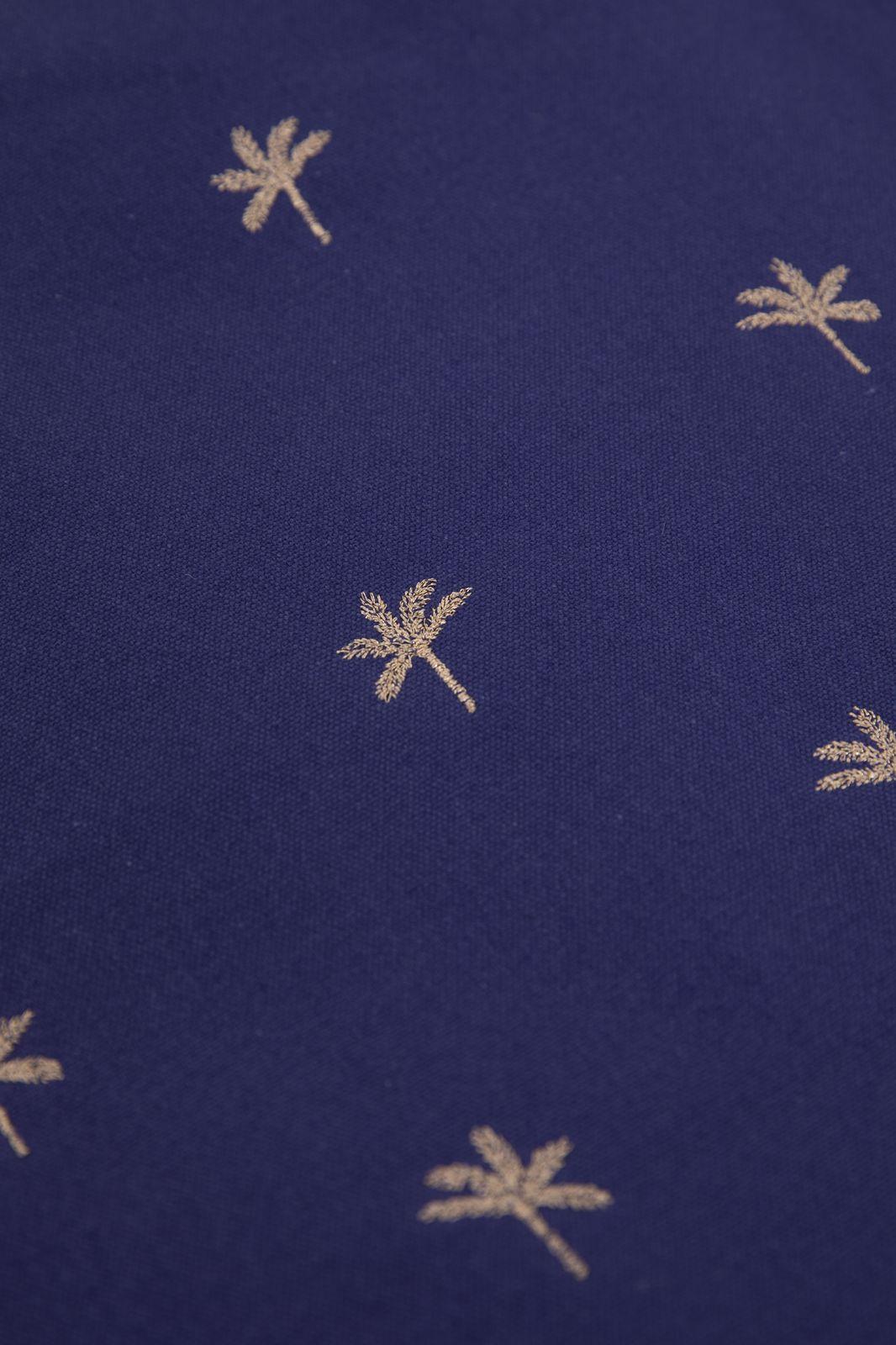 Donkerblauwe canvas shopper met lurex palm embroidery - Dames | Sissy-Boy
