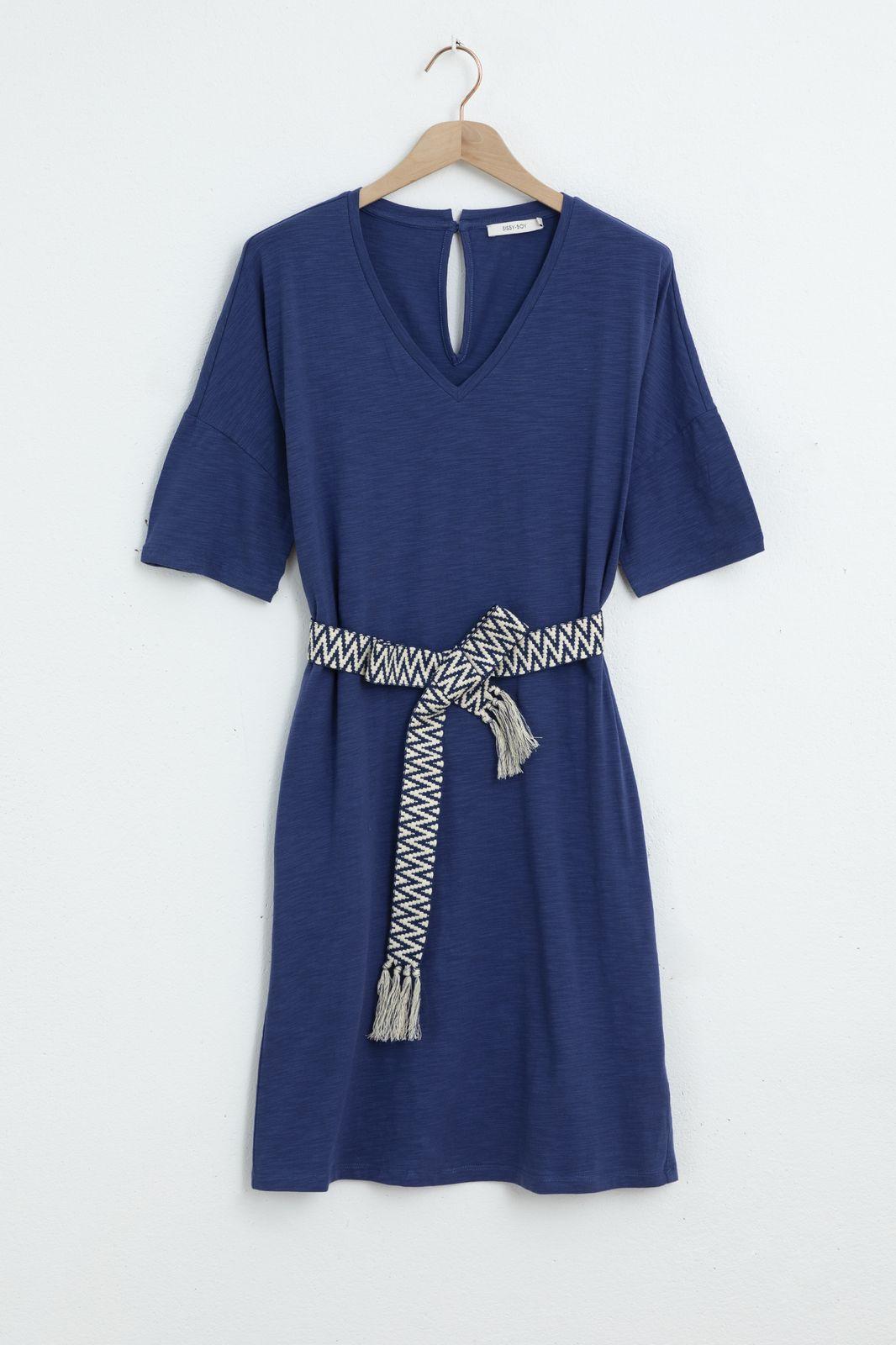 Donkerblauwe jersey jurk met knoopriem