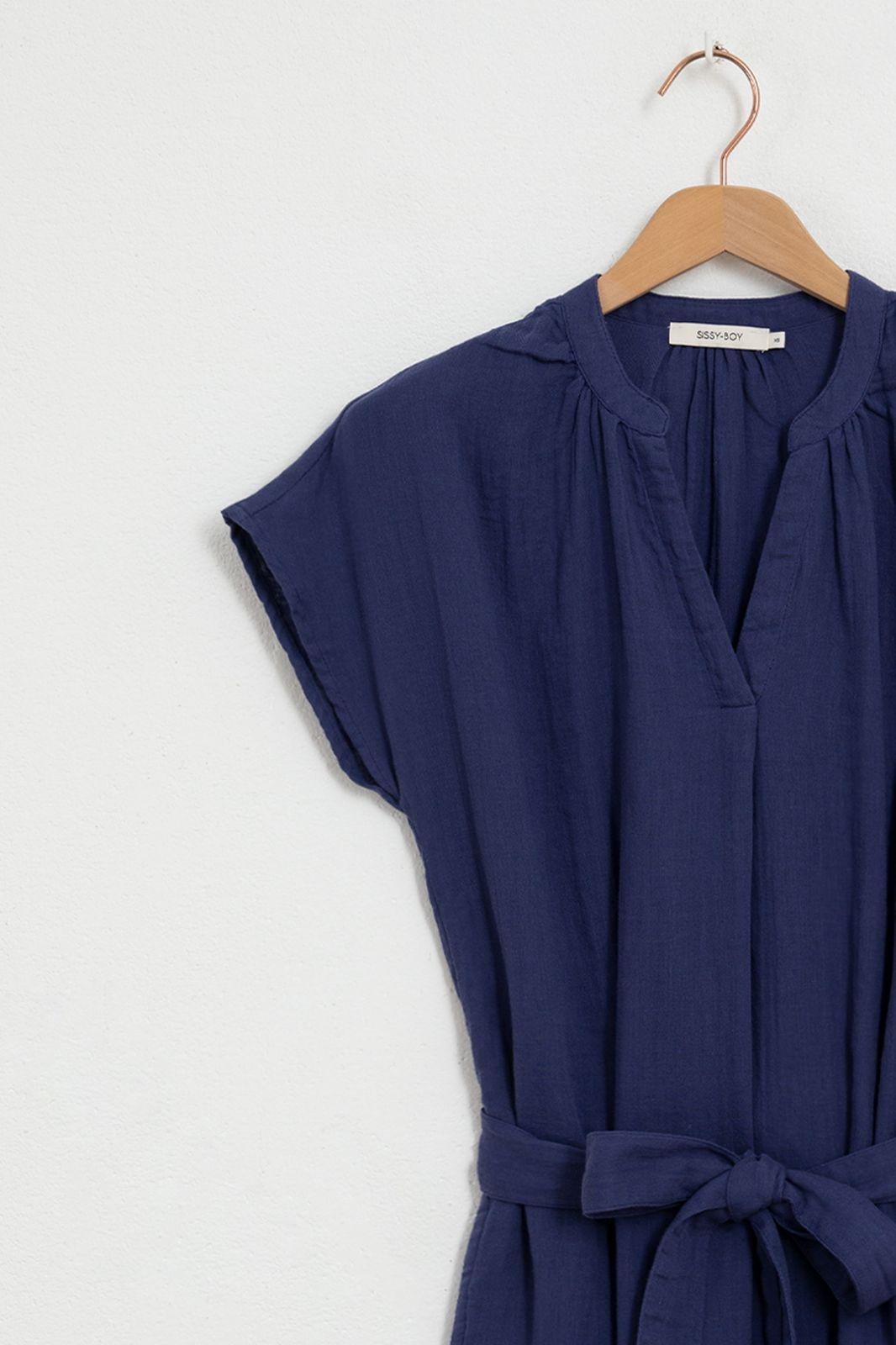 Donkerblauwe mousseline jurk