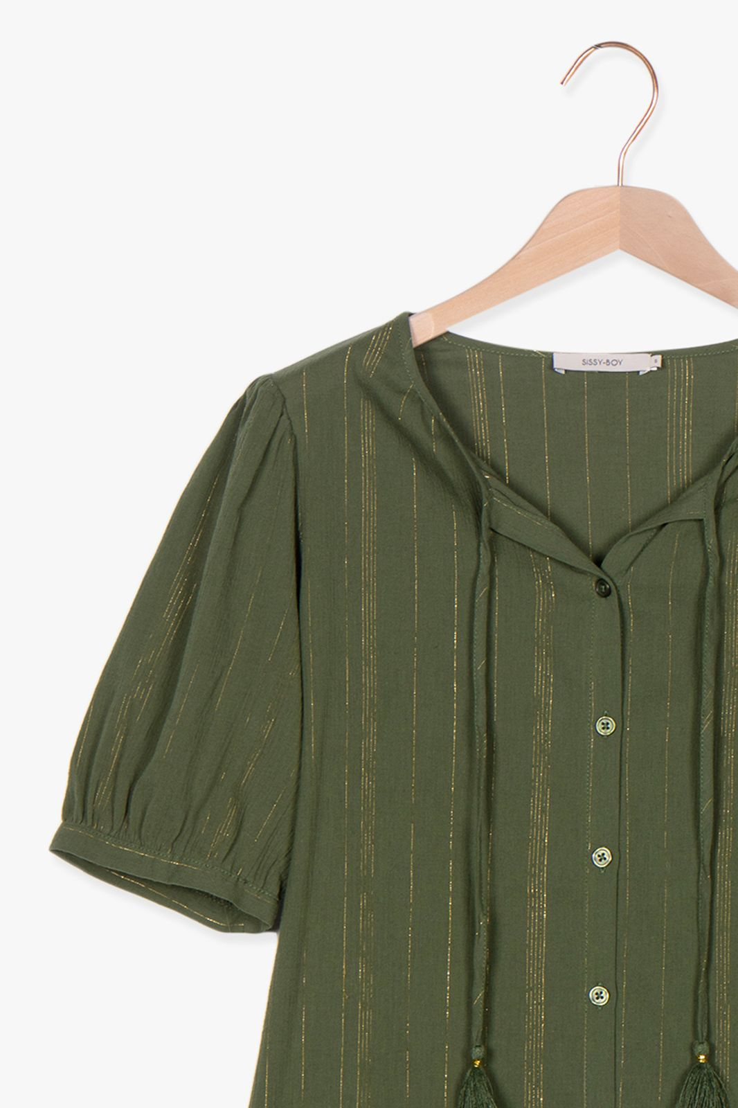 Donkergroene blouse met gouden details - Dames | Sissy-Boy