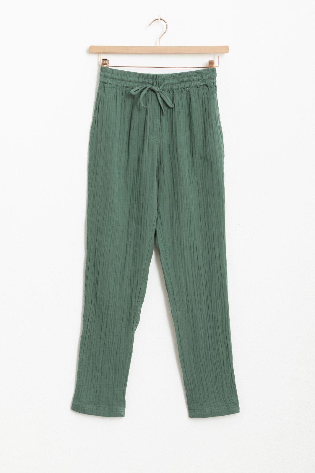 Groene mousseline broek