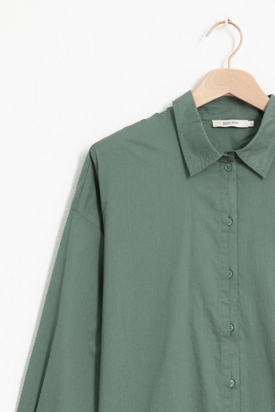 Donkergroene katoenen blouse - Dames | Sissy-Boy