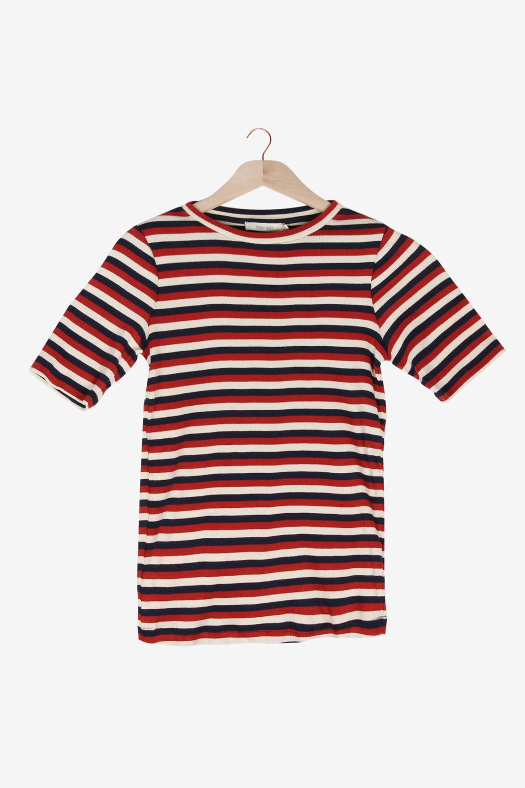Donkerrood gestreept t-shirt - Dames | Sissy-Boy