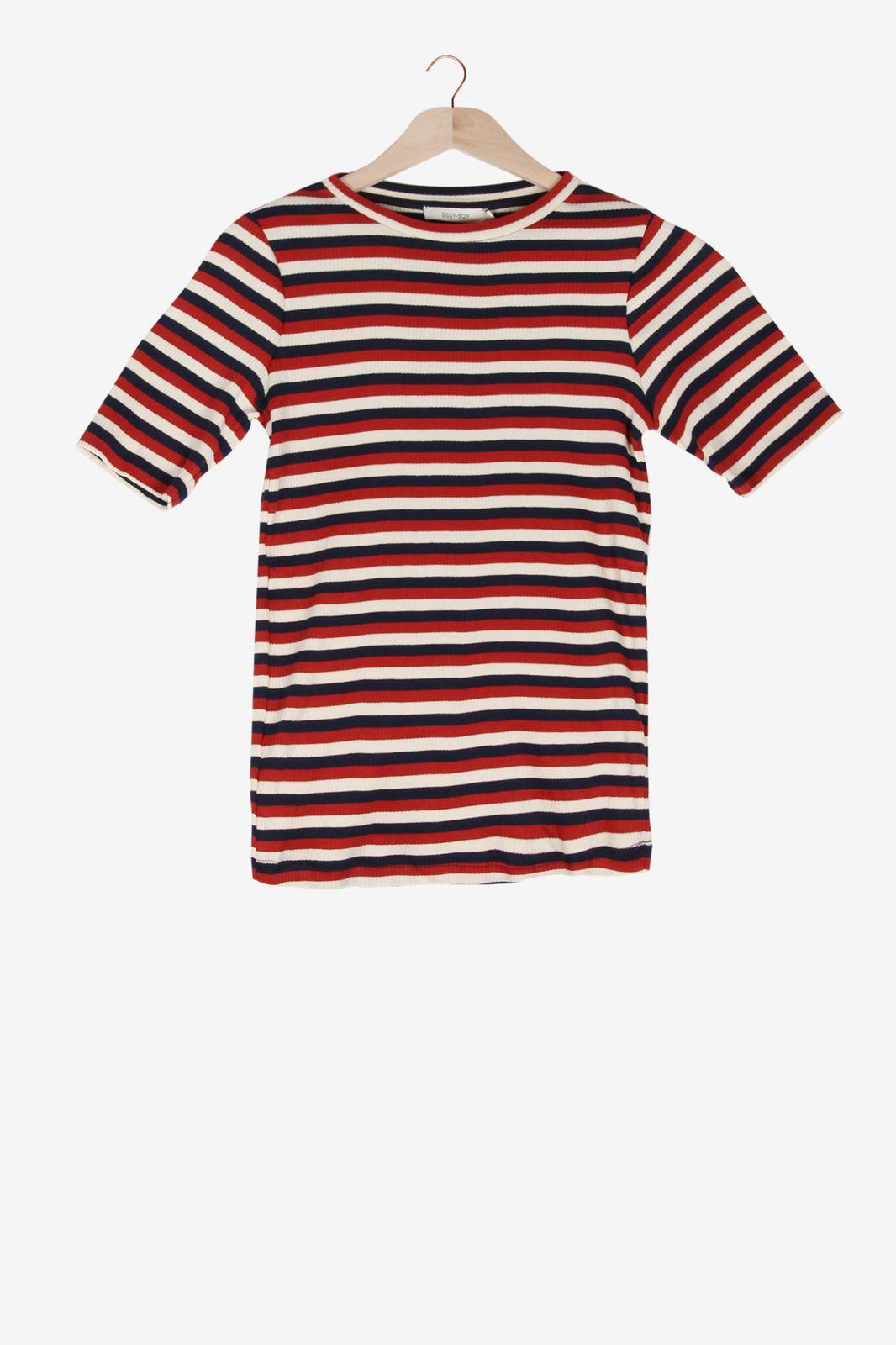 Donkerrood gestreept t-shirt