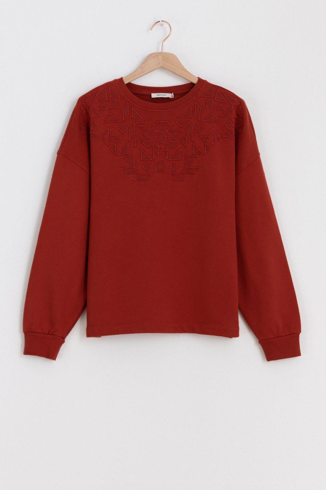 Donkerrode etnic sweater