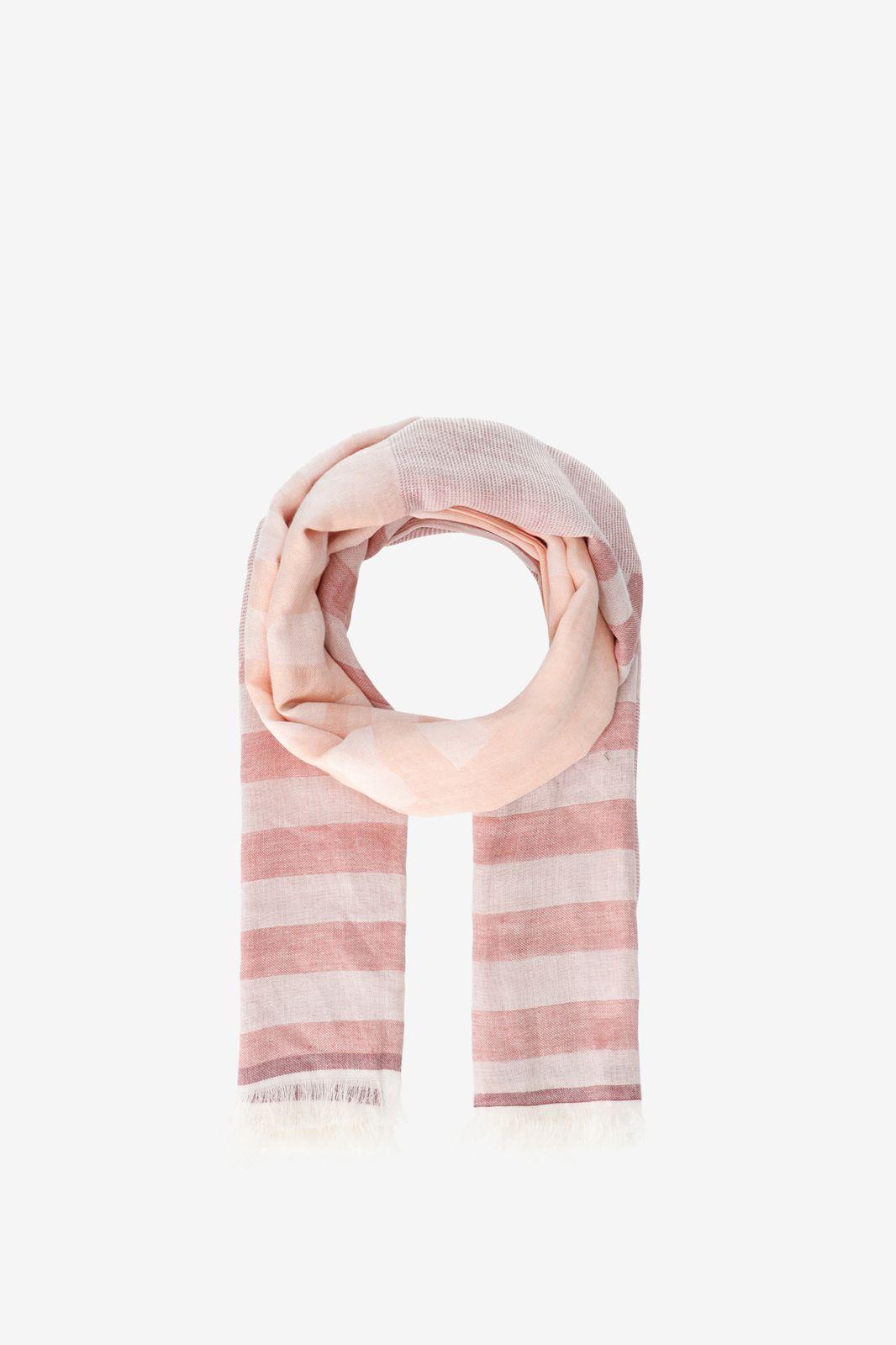 Roze jacquard geweven sjaal