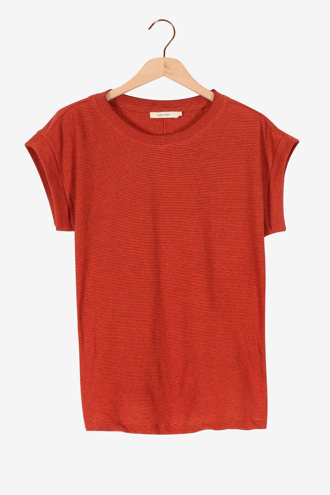 Donkerrood t-shirt gestreept