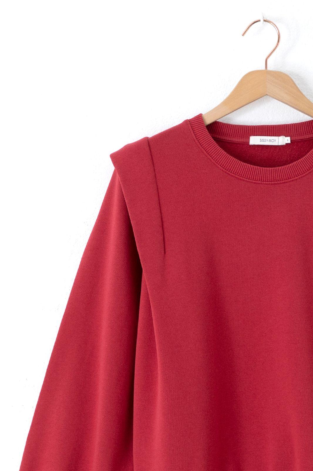 Rode sweater met schouder details - Dames | Sissy-Boy