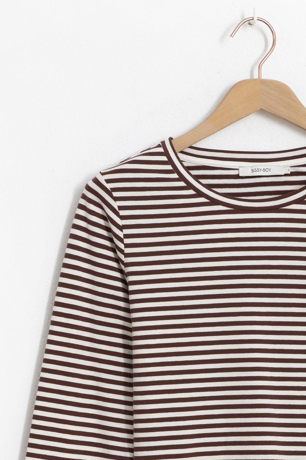 Donkerrood gestreept t-shirt met lange mouwen - Dames | Sissy-Boy