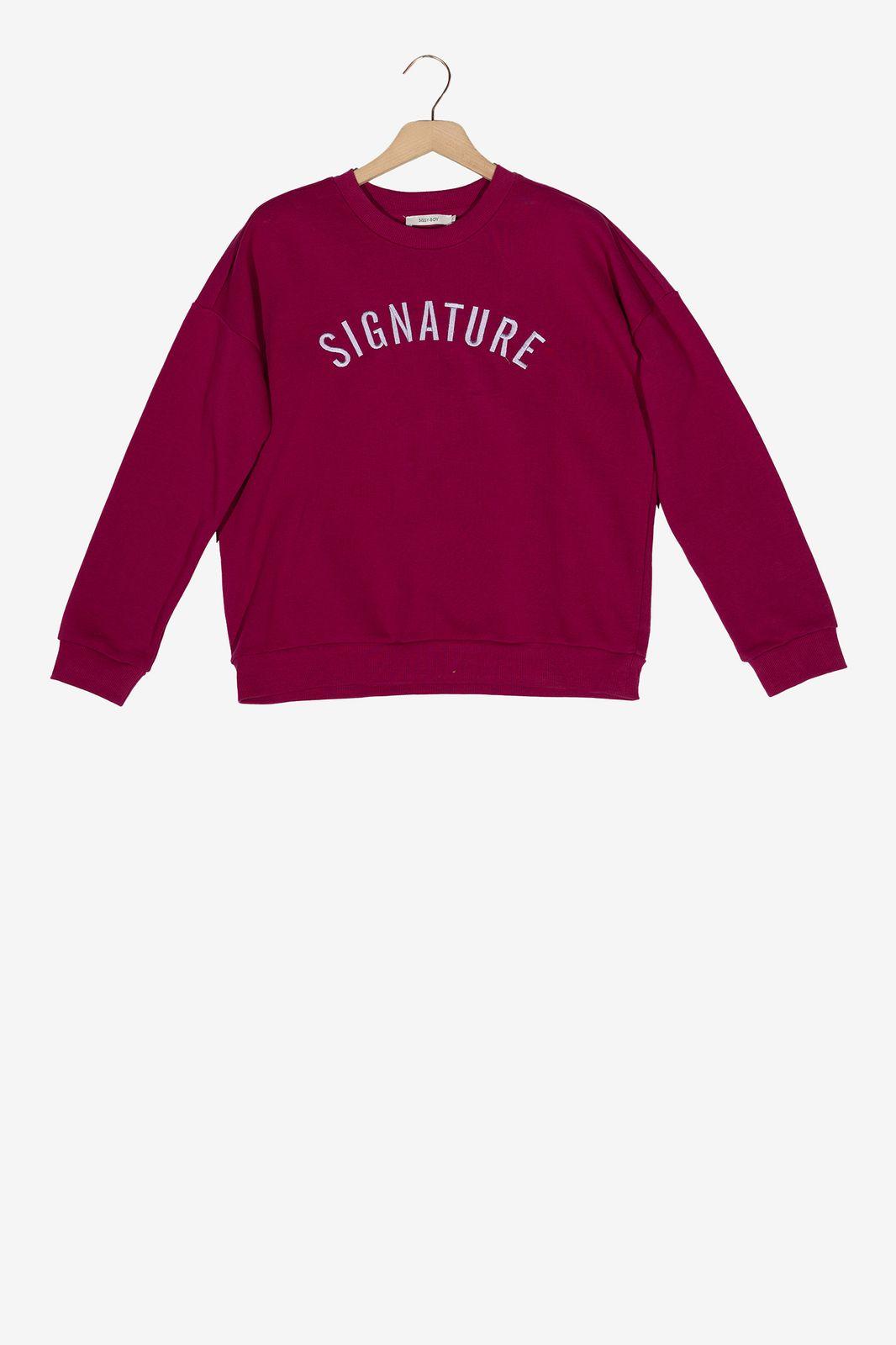 Donkerroze sweater Signature - Dames | Sissy-Boy